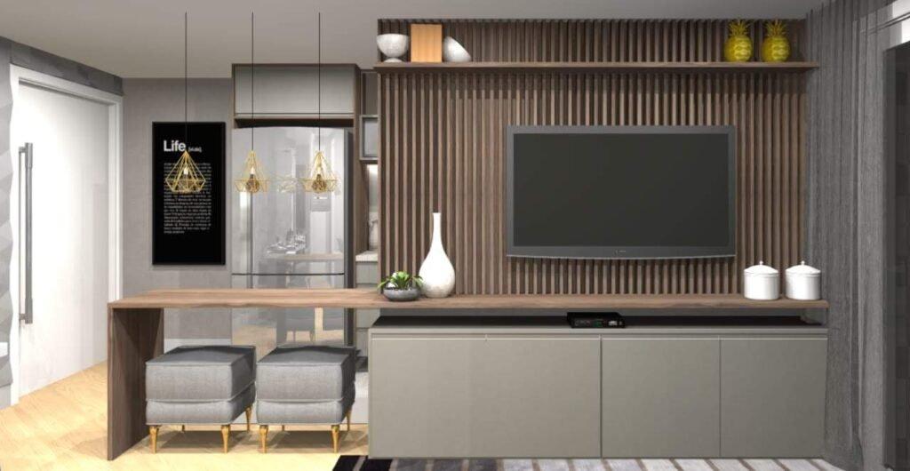 sala integrada com a cozinha - painel de tv om ripado amadeirado