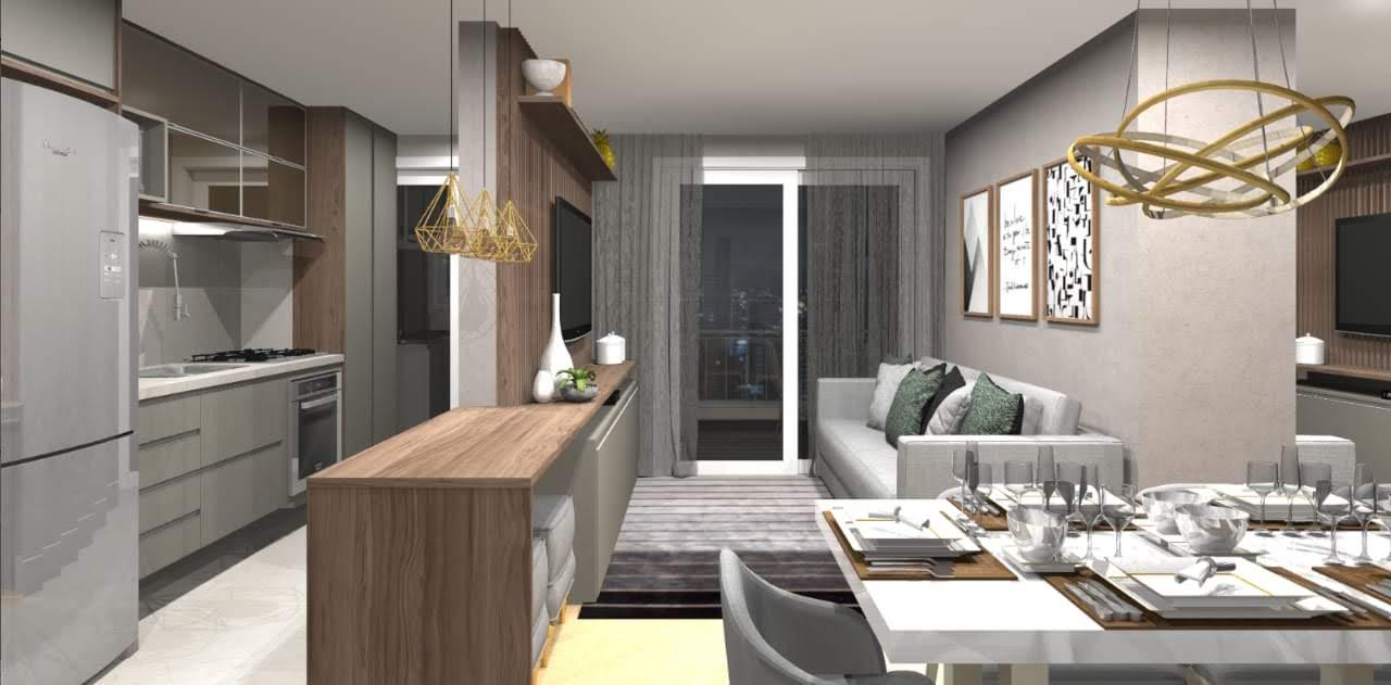 Projeto 3d, cozinha americana integrada com sala